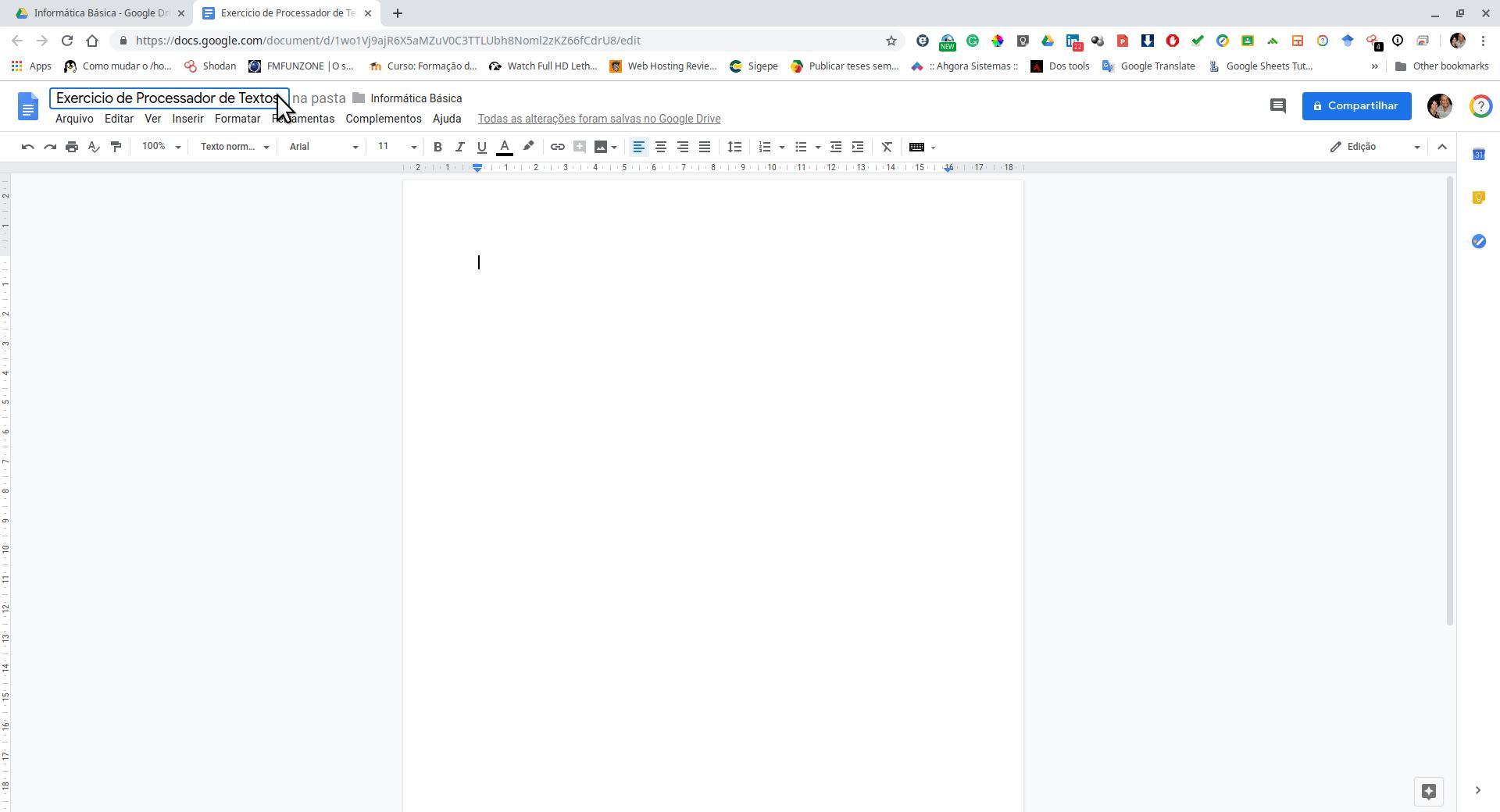 Documento no processador de textos
