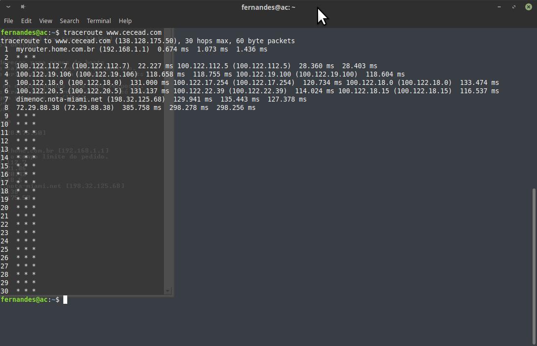 Traceroute no Linux