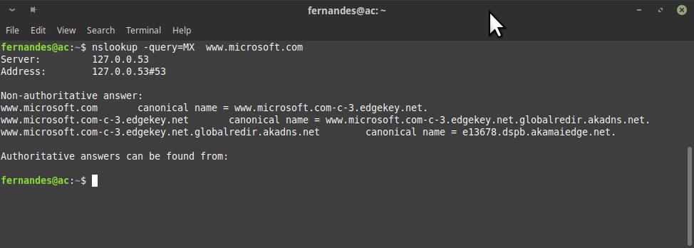 nslookup contra Microsoft