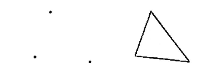 A nossa percepção vê os pontos e completa os espaços vazios ligando a forma