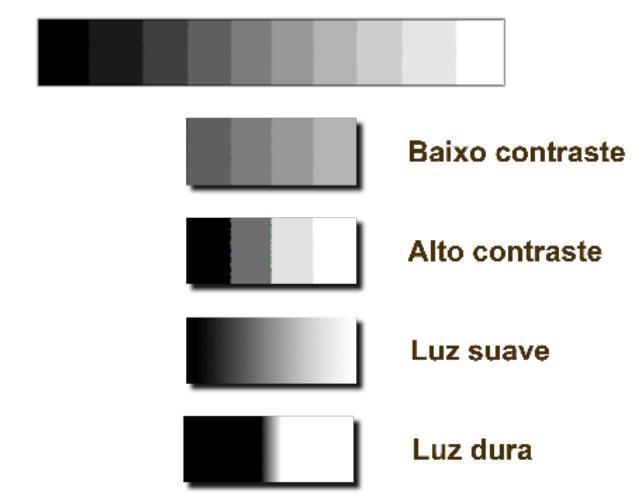 Contraste e qualidade da luz (dura ou suave)
