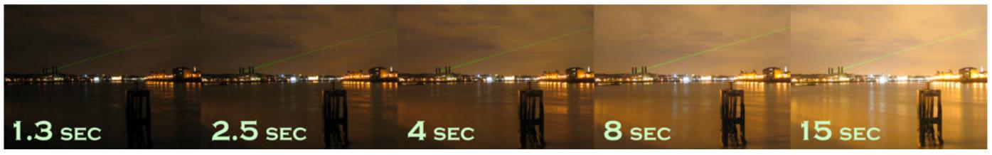 Fotografias noturnas mostrando como diferentes tempos de exposição influenciam a formação da imagem (fotografias obtidas com a mesma abertura do diafragma f)
