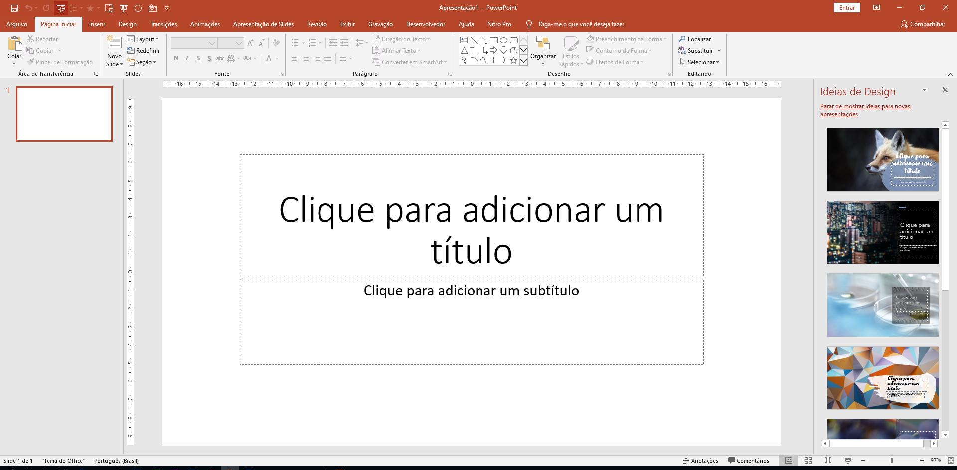 Figura 2 - Apresentação em Branco na área de trabalho do PowerPoint