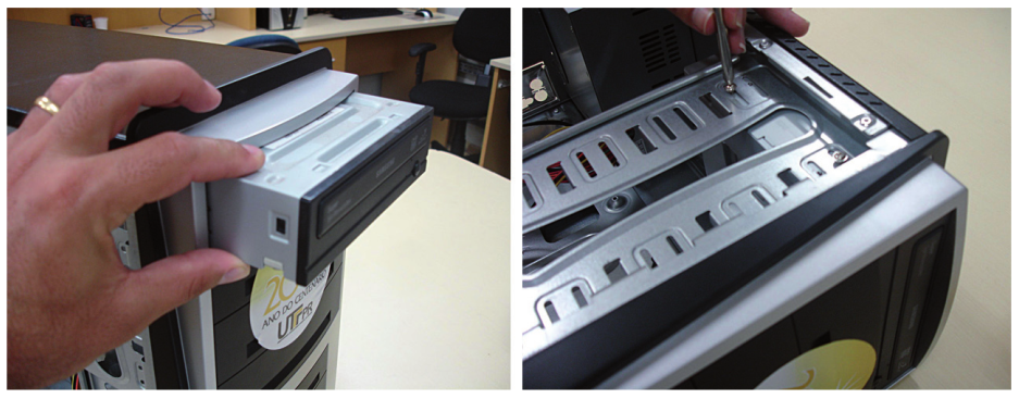 Montagem do driver de CD/DVD no gabinete